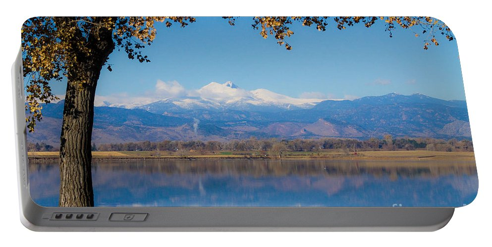 Lake Portable Battery Charger featuring the photograph Reflections Of Longs Peak by James BO Insogna