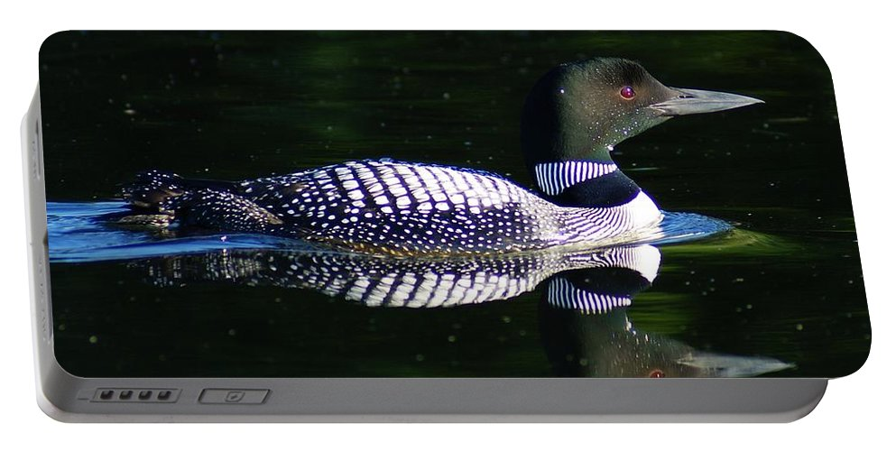 Loon Portable Battery Charger featuring the photograph Reflections by Steven Clipperton