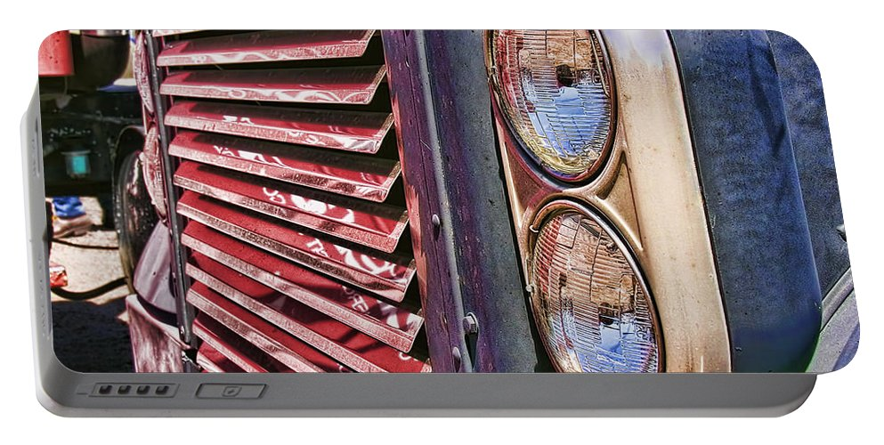 Grill. Big Truck Portable Battery Charger featuring the photograph Reflective Grill by Adam Vance