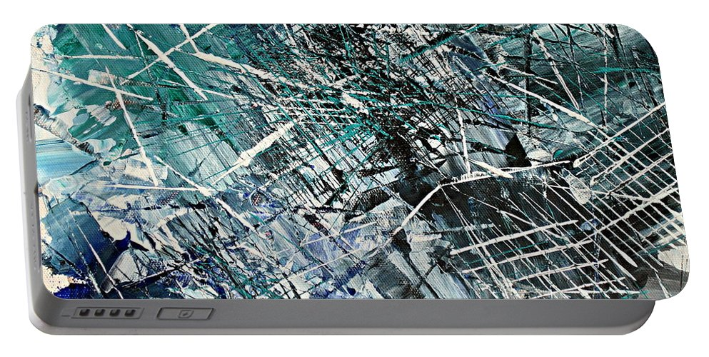 Abstract Art Portable Battery Charger featuring the painting Regency by Kathy Sheeran