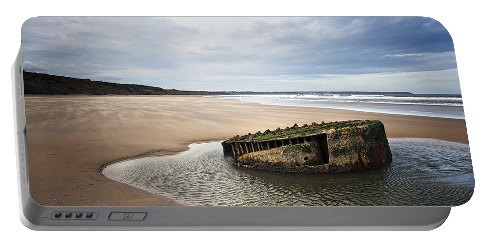 Bay Portable Battery Charger featuring the photograph Reighton Sands Shore by Svetlana Sewell