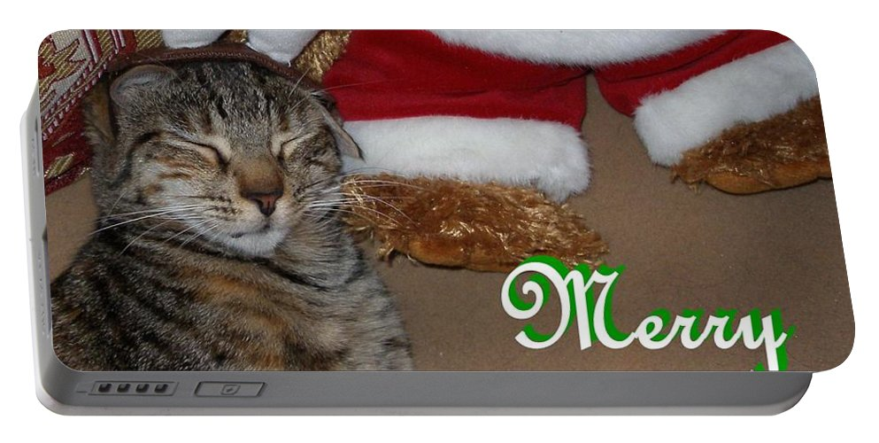 Cat Portable Battery Charger featuring the photograph Reindeer Dreams by Maria Bonnier-Perez