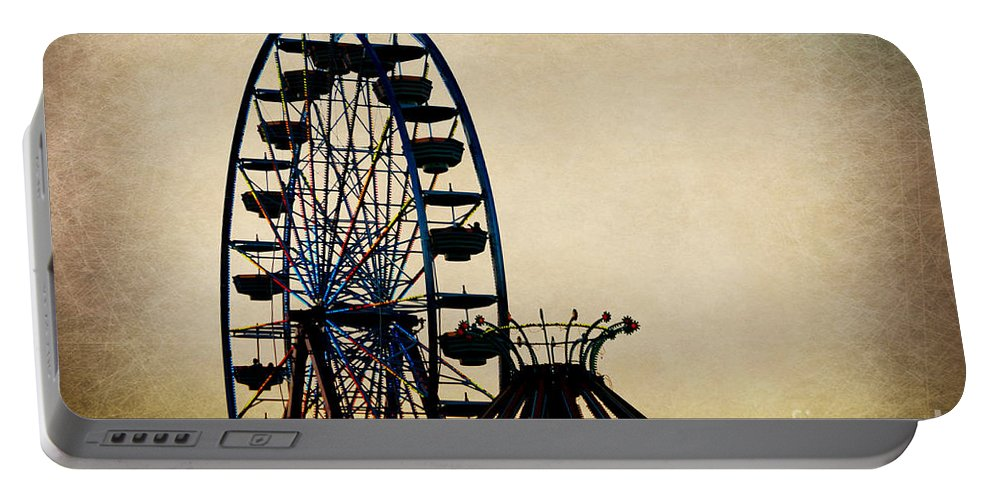 Landscape Portable Battery Charger featuring the photograph Remember When Ferris Wheel by Peggy Franz