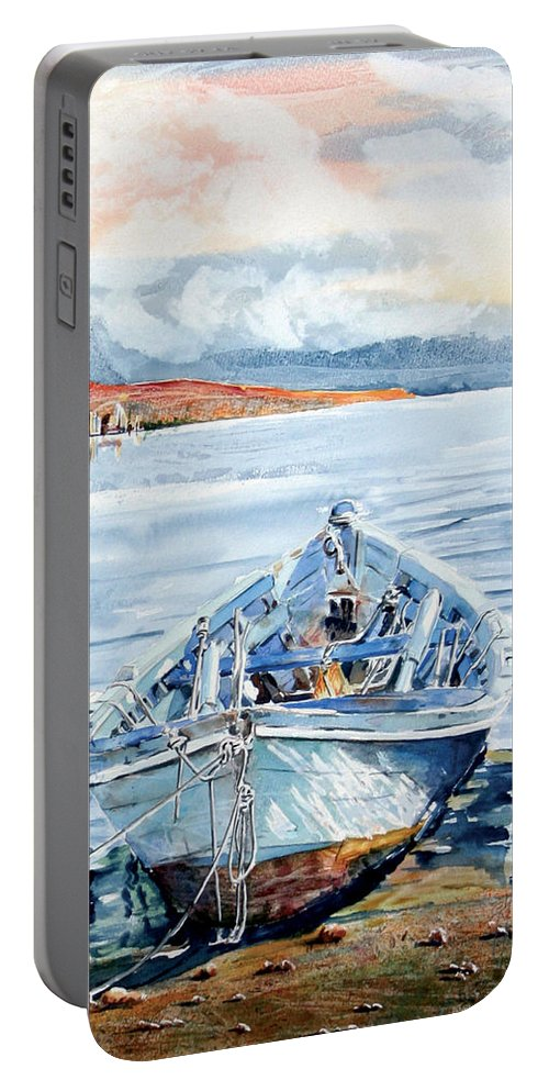Boat Portable Battery Charger featuring the painting Remi In Barca by Giovanni Marco Sassu