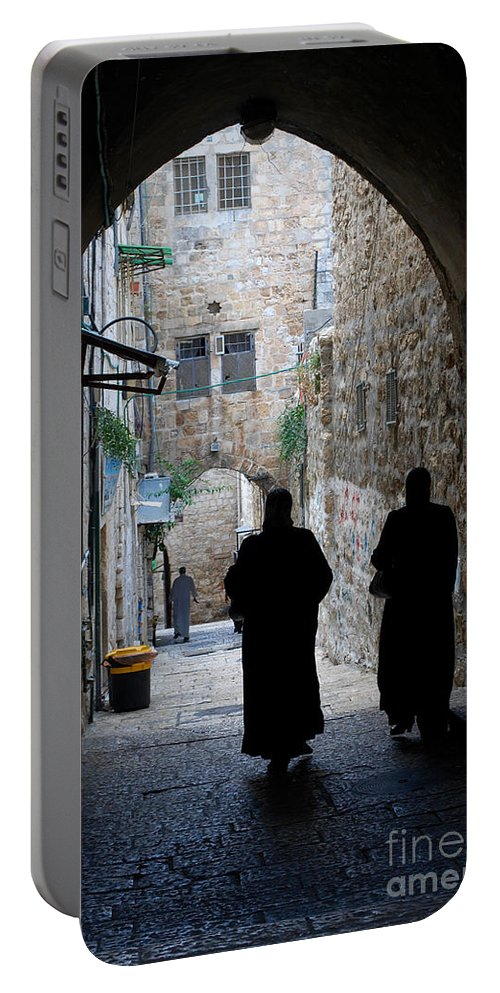 Meimei888 Portable Battery Charger featuring the digital art Residents Of Jerusalem Old City by Eva Kaufman