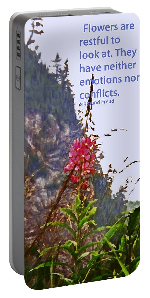 Quotation Portable Battery Charger featuring the photograph Restful Flowers by Ian MacDonald