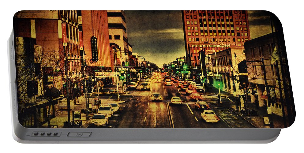 College Avenue Portable Battery Charger featuring the photograph Retro College Avenue by Joel Witmeyer