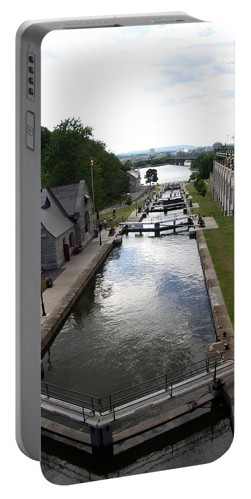 Canal Portable Battery Charger featuring the photograph Rideau Canal And Locks - Ottawa by Christiane Schulze Art And Photography