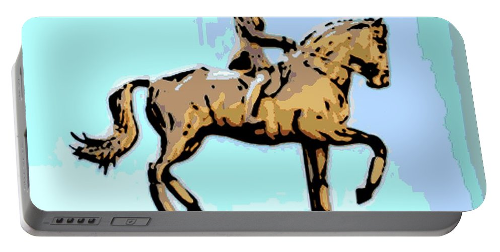 Horse Portable Battery Charger featuring the photograph Riding Copper by George Pedro