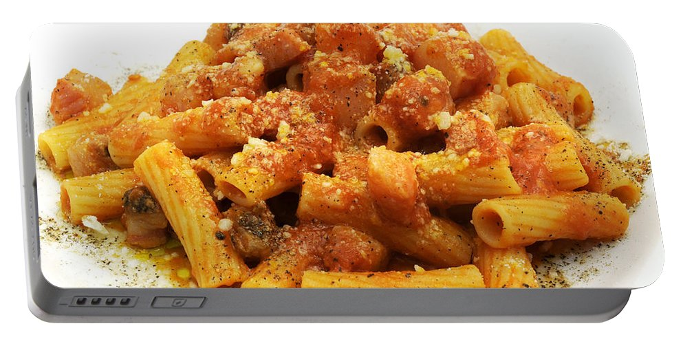 White Background Portable Battery Charger featuring the photograph Rigatoni All'amatriciana by Fabrizio Troiani