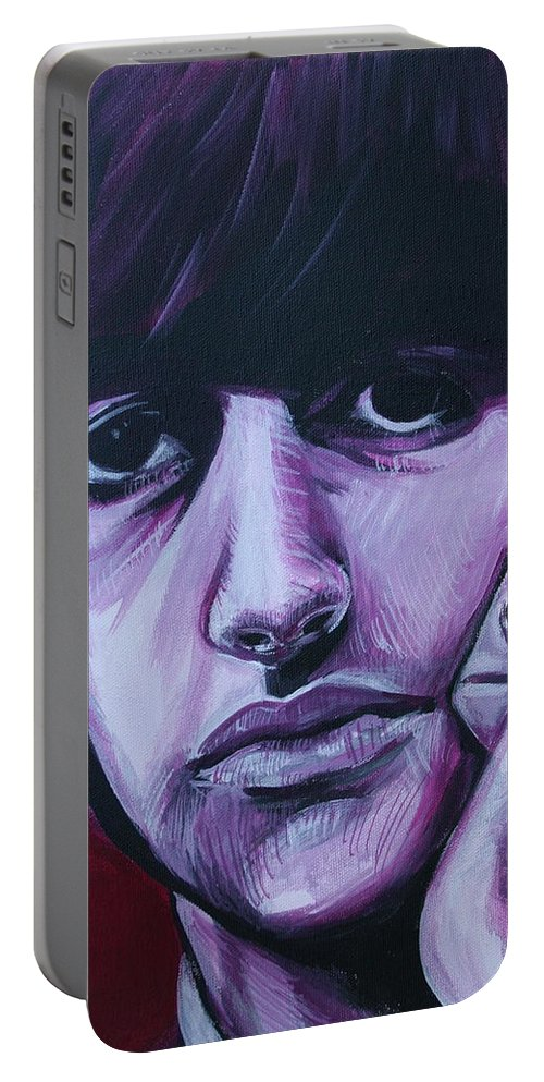 Beatles Portable Battery Charger featuring the painting Ringo Star by Kate Fortin