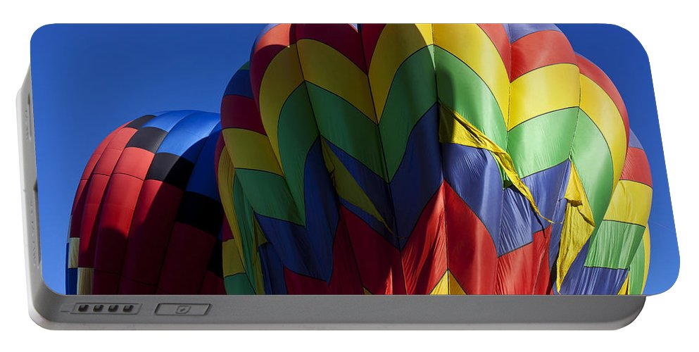 Hot Air Balloon Portable Battery Charger featuring the photograph Rising Hot Air Balloons by Garry Gay