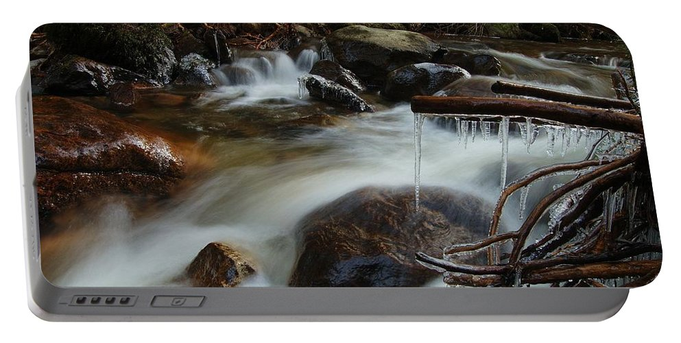 Icicles Portable Battery Charger featuring the photograph River Detail by Gavin Macrae