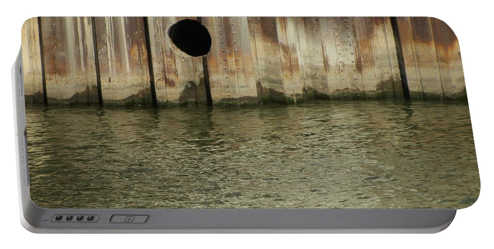 Rust Portable Battery Charger featuring the photograph River In The City 1 by Anita Burgermeister