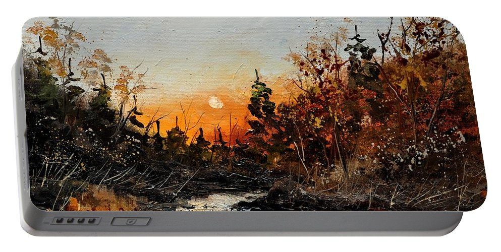 Landscape Portable Battery Charger featuring the painting River Lesse 451111 by Pol Ledent