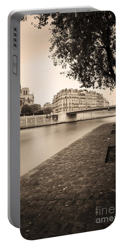 Architectural Portable Battery Charger featuring the photograph River Seine And Cathedral Notre Dame by Brian Jannsen