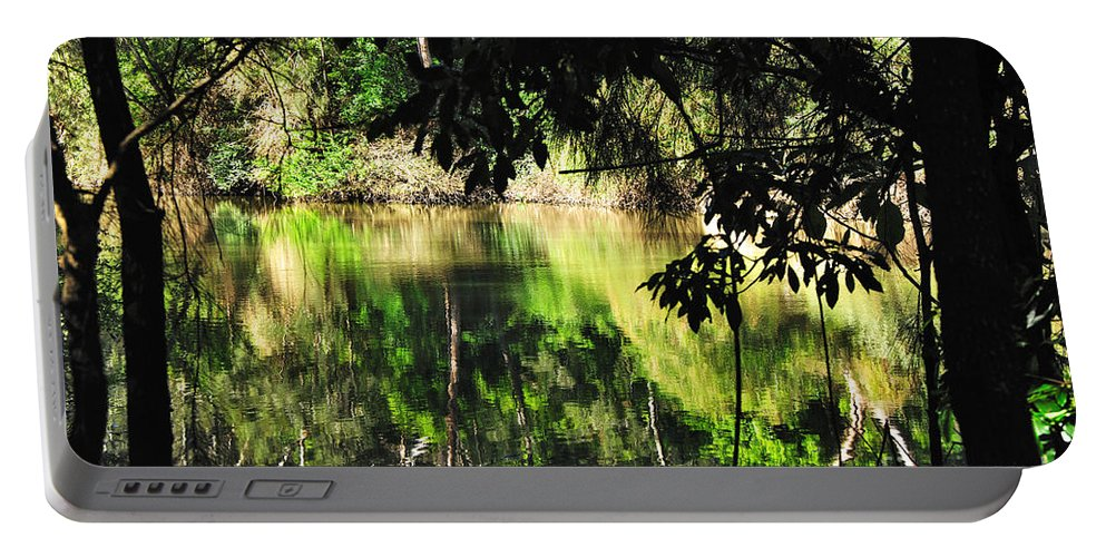 Photography Portable Battery Charger featuring the photograph River Through The Trees by Kaye Menner