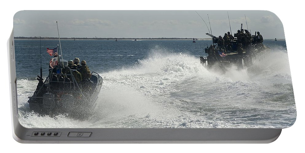 Exercise Bold Alligator Portable Battery Charger featuring the photograph Riverine Command Boats And Security by Stocktrek Images