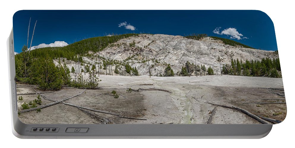 Yellowstone Portable Battery Charger featuring the photograph Roaring Mountain Panorama by Greg Nyquist