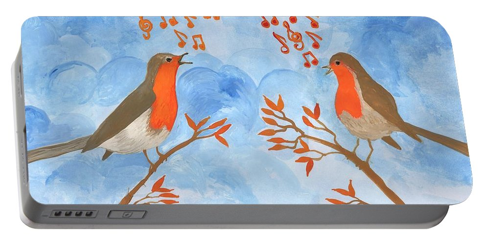 Robin Portable Battery Charger featuring the painting Robin Singing Competition by Sushila Burgess
