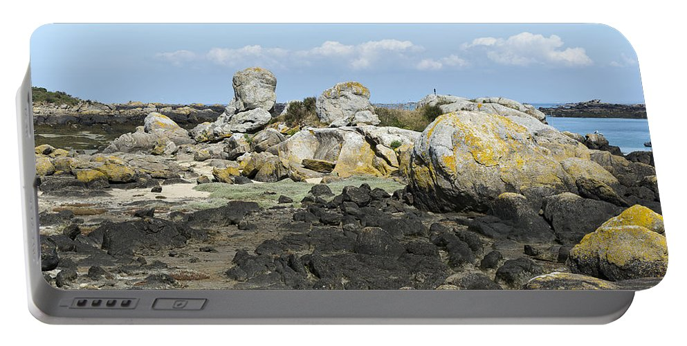 Normandy Portable Battery Charger featuring the photograph Rocks At Low Tide Iles Chausey by Gary Eason