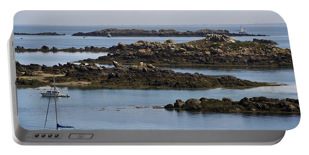 Normandy Portable Battery Charger featuring the photograph Rocky Moorings Iles Chausey by Gary Eason