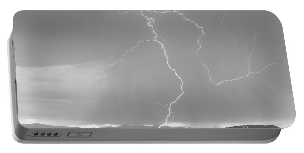 July Portable Battery Charger featuring the photograph Rocky Mountain Front Range Foothills Lightning Strikes 1 Bw by James BO Insogna