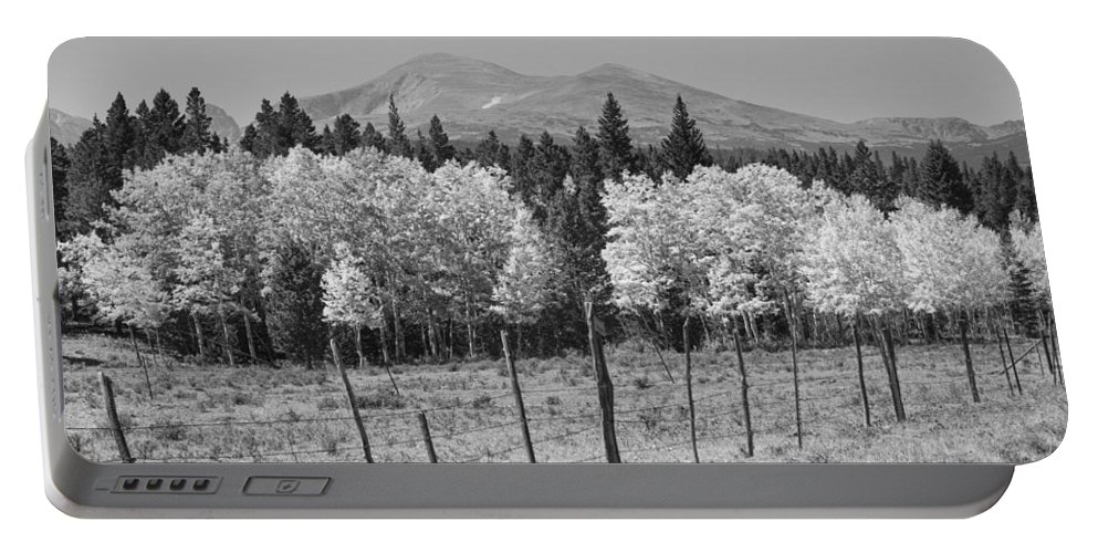 Colorado Portable Battery Charger featuring the photograph Rocky Mountain High Country Autumn Fall Foliage Scenic View Bw by James BO Insogna