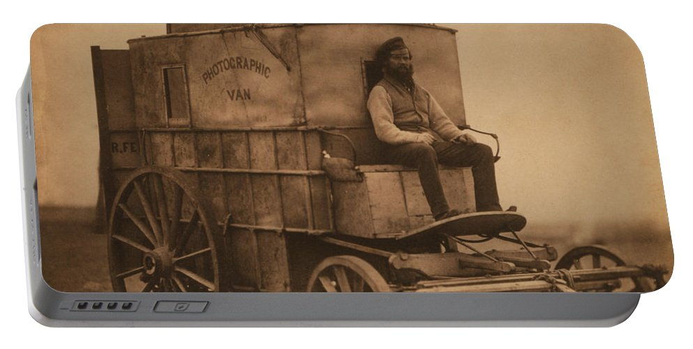 History Portable Battery Charger featuring the photograph Roger Fentons Photographic Van by Photo Researchers