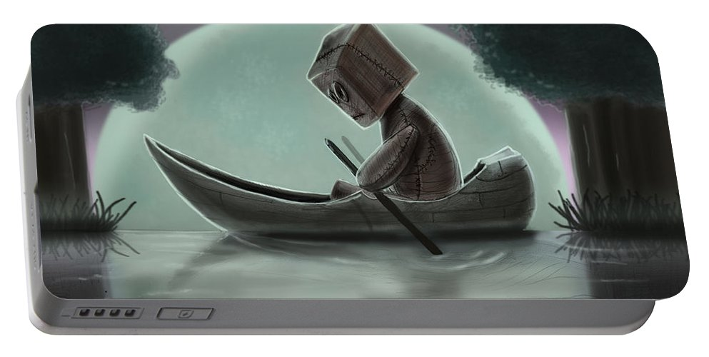 Sad Doll Portable Battery Charger featuring the digital art Romantic Boat Ride For One by Joseph Davis