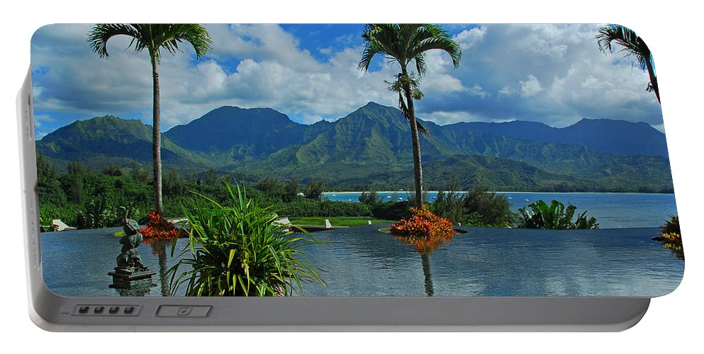 Fountain Portable Battery Charger featuring the photograph Rooftop Fountain In Paradise by Lynn Bauer