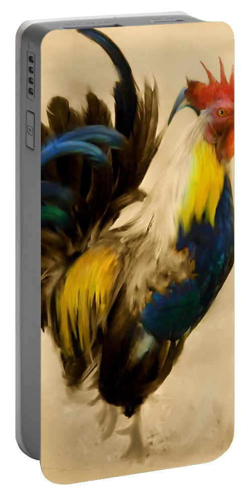 Rooster Portable Battery Charger featuring the painting Rooster On The Prowl 2 - Vintage Tonal by Georgiana Romanovna