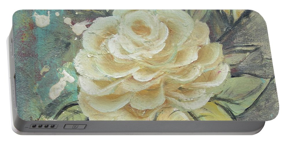 Rose Portable Battery Charger featuring the painting Rosey by Kathy Sheeran