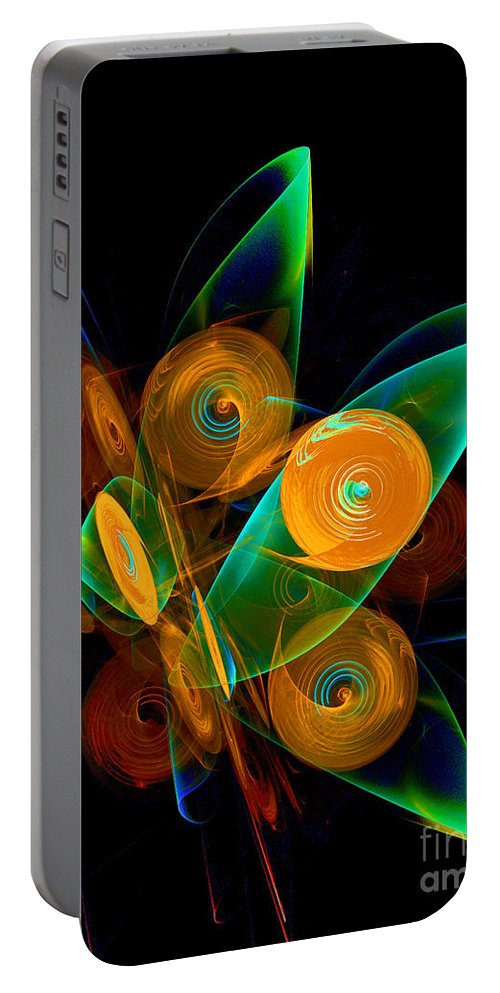 Wind Portable Battery Charger featuring the digital art Rotating By Wind by Klara Acel