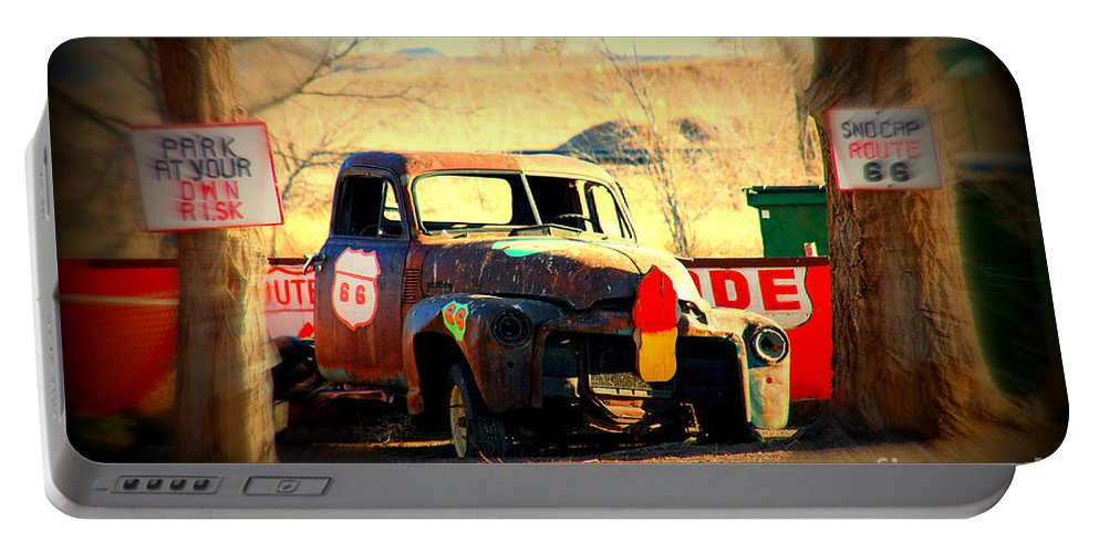 Route 66 Portable Battery Charger featuring the photograph Route 66 Parking Lot by Susanne Van Hulst