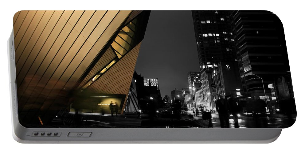 Toronto Portable Battery Charger featuring the photograph Royal Ontario Museum Night by Andrew Fare