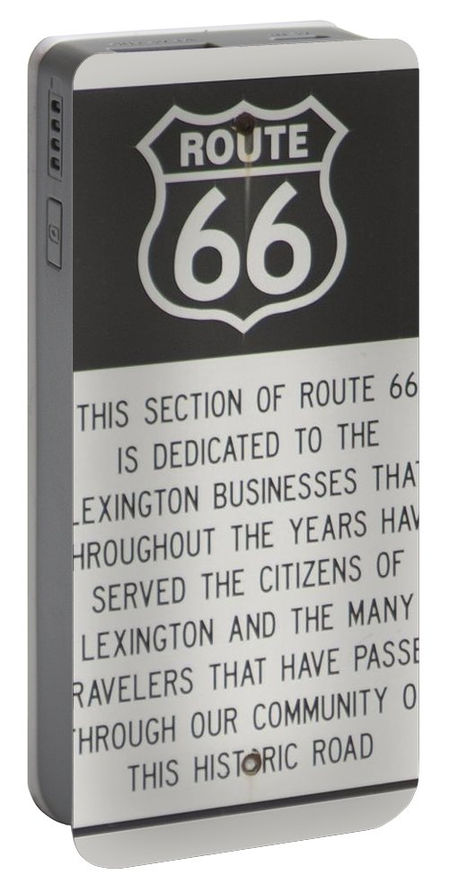 Mother Road Portable Battery Charger featuring the photograph Rt 66 Lexington County Signage by Thomas Woolworth