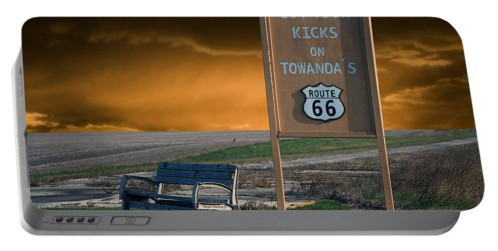66 Portable Battery Charger featuring the photograph Rt 66 Towanda Signage by Thomas Woolworth