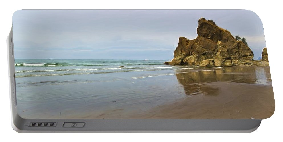 Olympic Portable Battery Charger featuring the photograph Ruby Beach Seastack Reflection by Heidi Smith