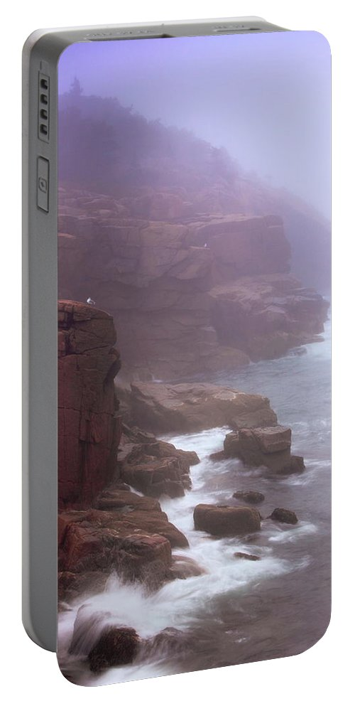 Rugged Portable Battery Charger featuring the photograph Rugged Seacoast In Mist by Roupen Baker