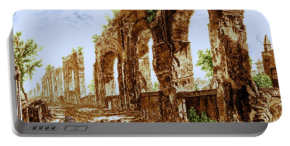Architecture Portable Battery Charger featuring the photograph Ruins Of Roman Aqueduct, 18th Century by Science Source