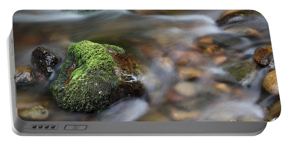 Rock Portable Battery Charger featuring the photograph Rushing Water by Ted Kinsman