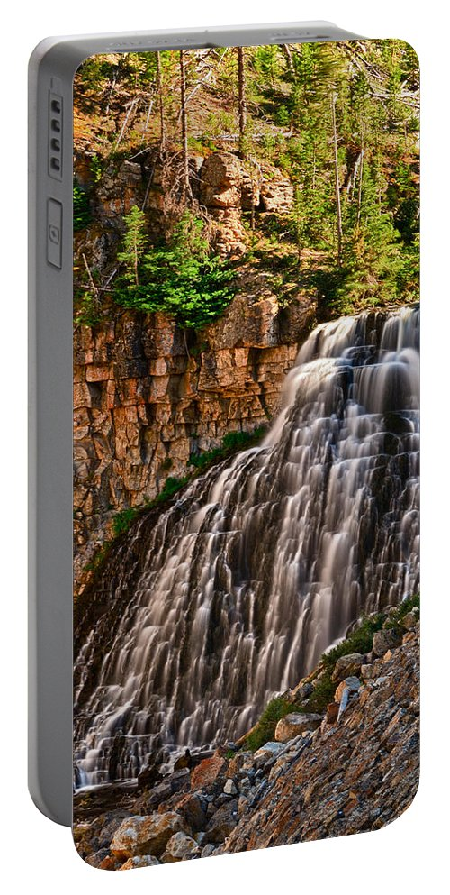 Yellowstone Portable Battery Charger featuring the photograph Rustic Falls by Greg Norrell