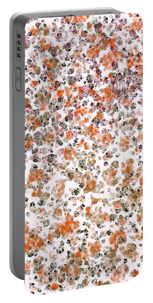 Abstract Portable Battery Charger featuring the digital art Rustic Red Abstract by Debbie Portwood