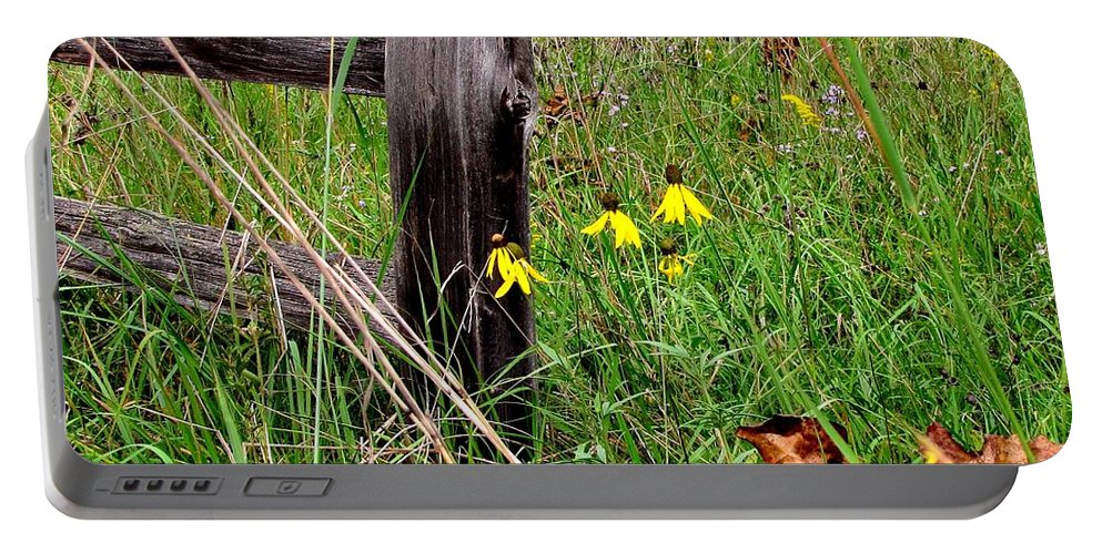 Old Fence Portable Battery Charger featuring the photograph Rustic Road Charm by Marilyn Smith