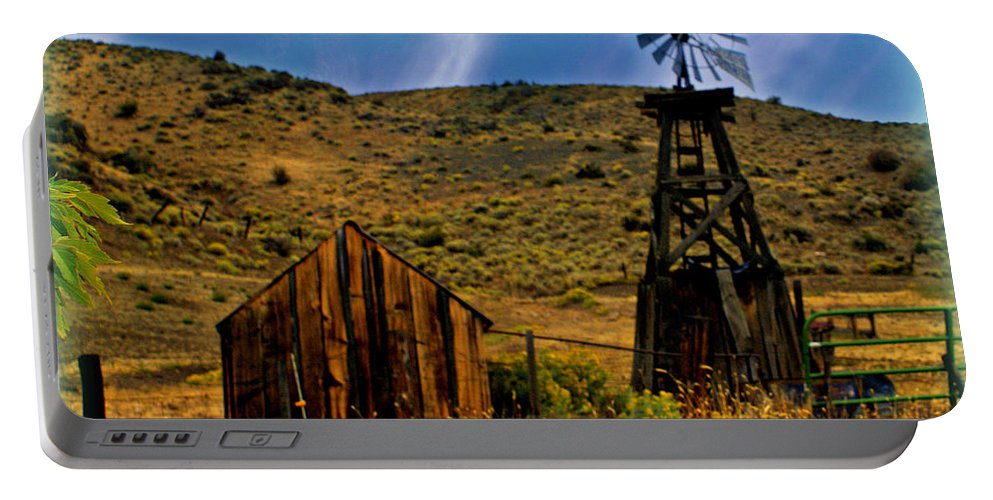 Windmill Portable Battery Charger featuring the photograph Rustic Windmill by Marty Koch