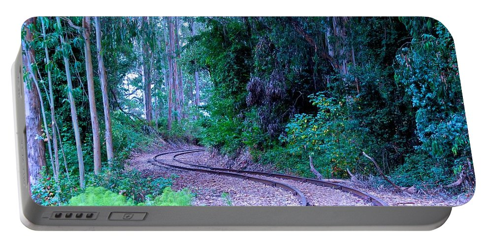 Railroad Tracks Portable Battery Charger featuring the photograph S Curve In The Forest by Eric Tressler