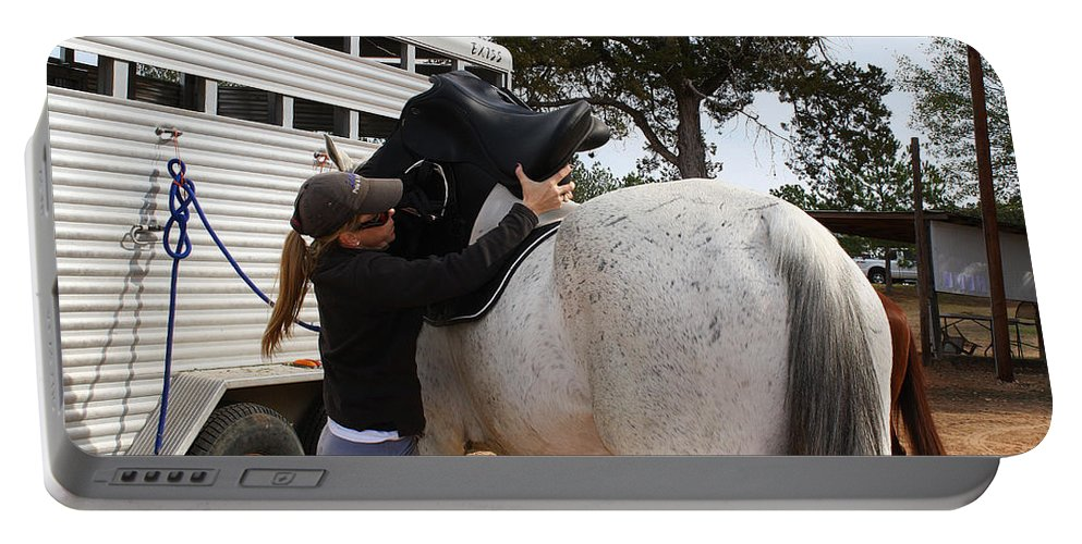 Roena King Portable Battery Charger featuring the photograph Saddling Up by Roena King