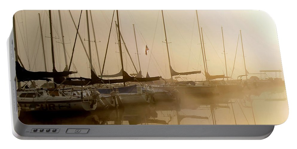 Sailbots Water Portable Battery Charger featuring the photograph Sailboats In Golden Fog by Randall Branham