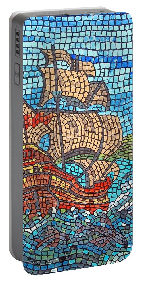 Ocean Portable Battery Charger featuring the painting Sailing Home by Cynthia Amaral